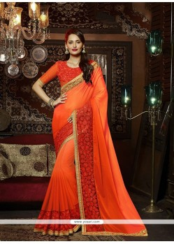Wonderous Georgette Orange Patch Border Work Designer Saree