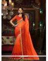 Wonderous Georgette Orange Patch Border Work Designer Saree
