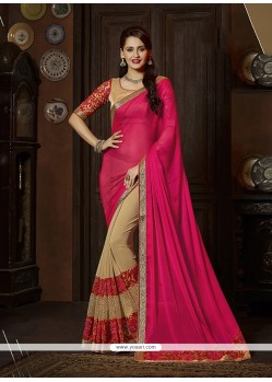 Prodigious Georgette Patch Border Work Classic Designer Saree