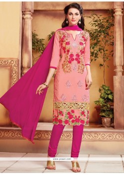 Beautiful Pink Cotton Churidar Designer Suit