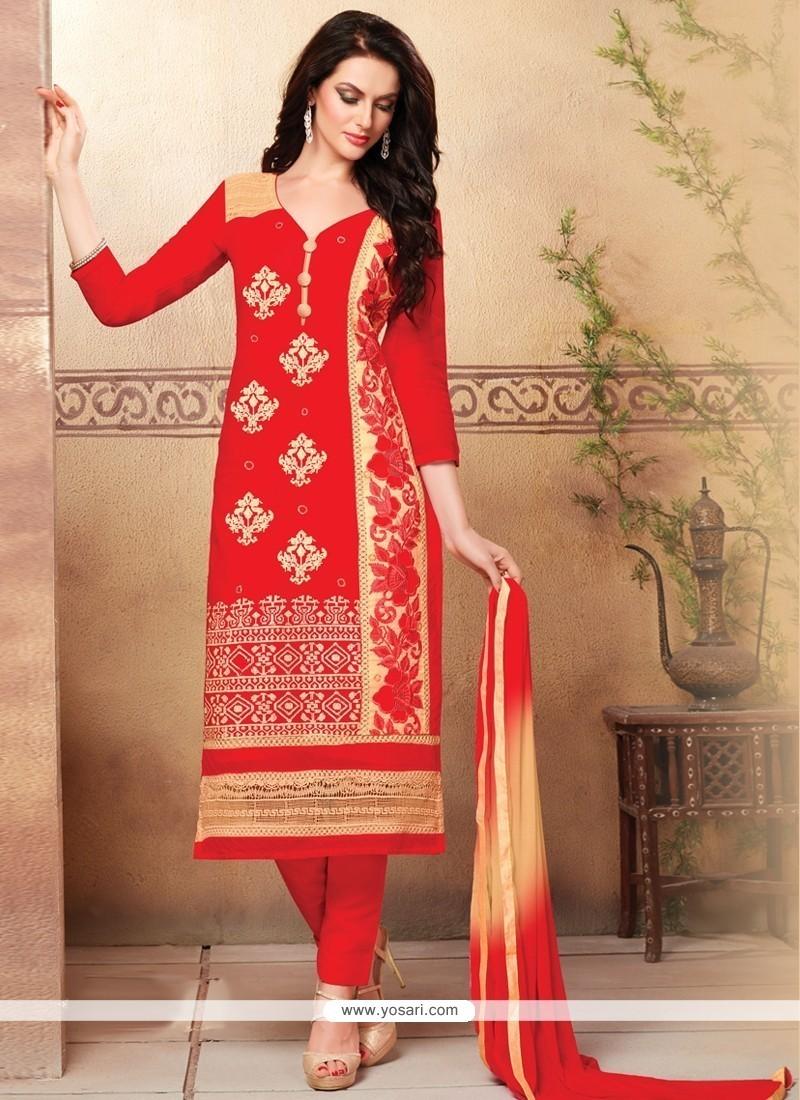Jazzy Resham Work Cotton Churidar Designer Suit