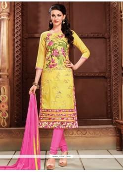 Sumptuous Cotton Yellow Resham Work Churidar Designer Suit