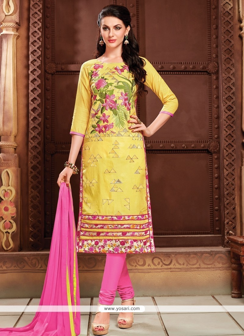 Sumptuous Cotton Yellow Resham Work Churidar Designer Suit
