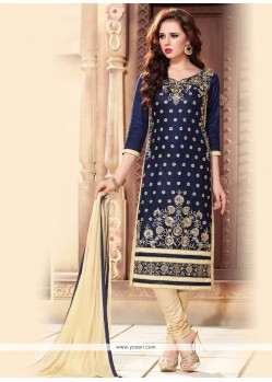 Titillating Resham Work Churidar Designer Suit