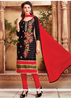 Celestial Embroidered Work Cotton Black Churidar Designer Suit