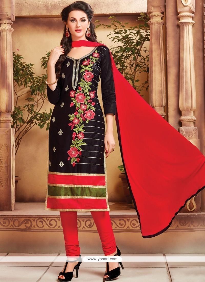 Celestial Embroidered Work Cotton Black Churidar Designer Suit