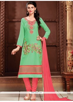 Wonderous Cotton Sea Green Churidar Designer Suit