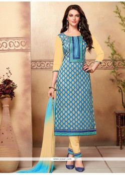 Excellent Cotton Embroidered Work Churidar Designer Suit