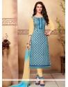 Excellent Cotton Embroidered Work Churidar Designer Suit