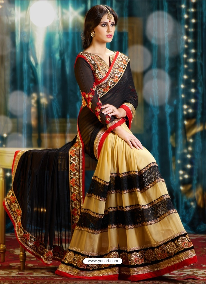 Black And Cream Pure Georgette Designer Saree