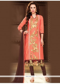Sorcerous Cotton Peach Churidar Designer Suit
