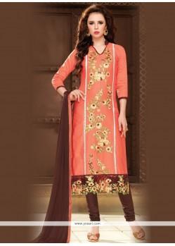 Sorcerous Cotton Peach Churidar Designer Suit