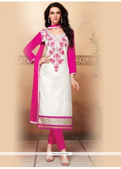 Incredible Off White Cotton Churidar Designer Suit