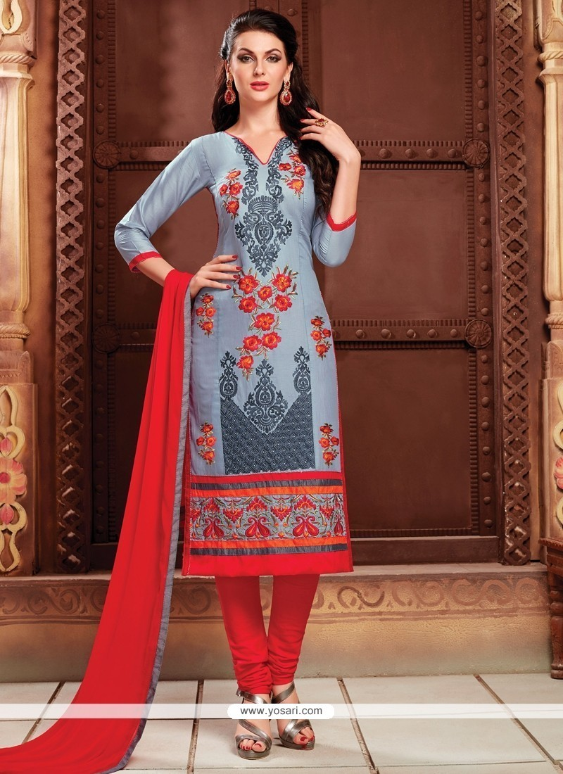 Immaculate Embroidered Work Grey Churidar Designer Suit