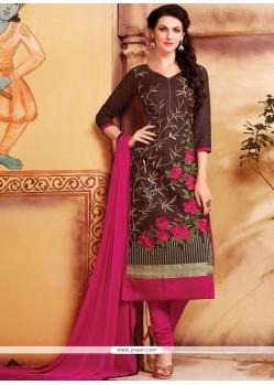 Ravishing Brown Cotton Churidar Designer Suit