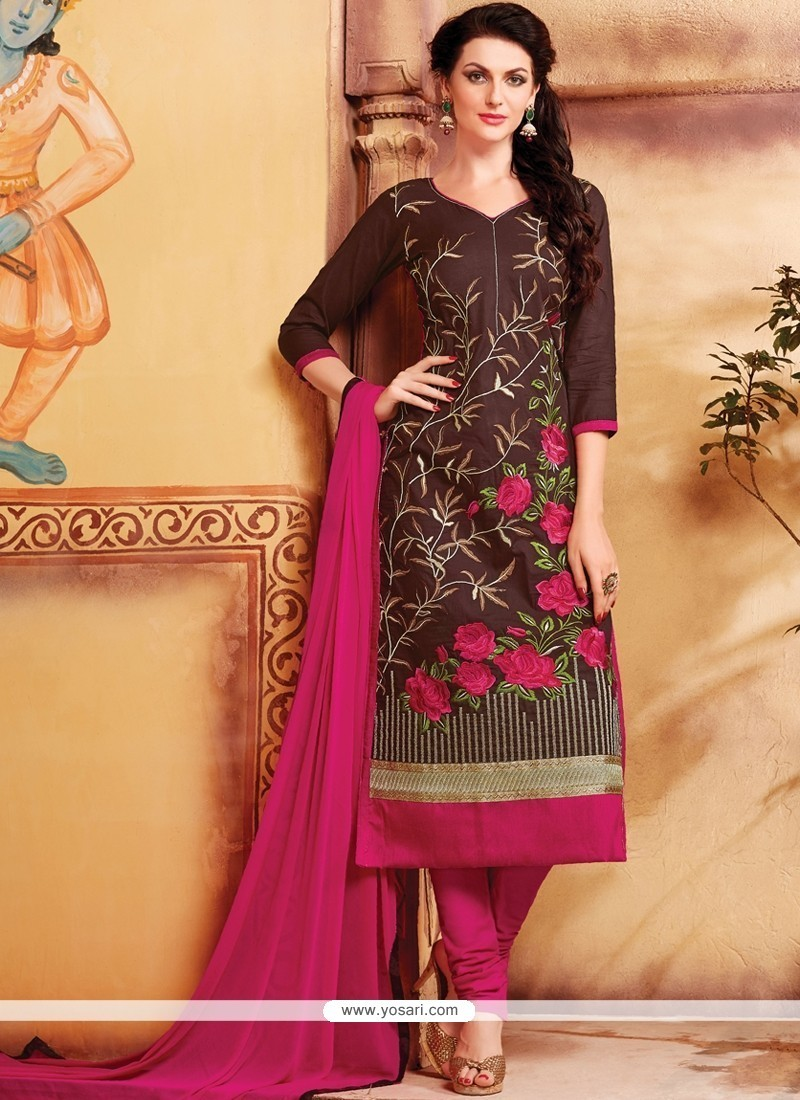 Ravishing Brown Cotton Churidar Designer Suit