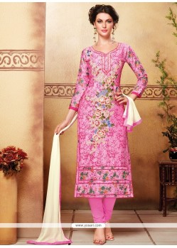 Monumental Resham Work Pink Churidar Designer Suit