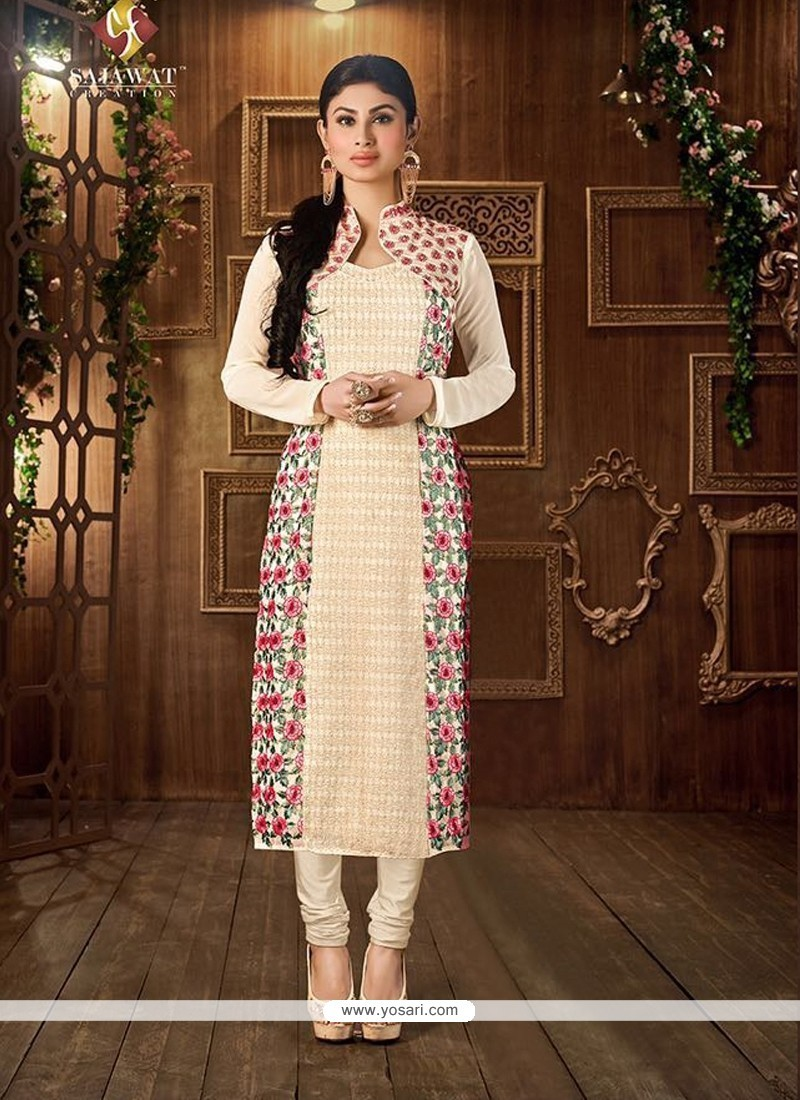Noble Georgette Embroidered Work Churidar Designer Suit
