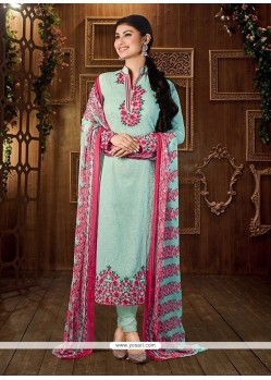 Delightful Georgette Embroidered Work Churidar Designer Suit