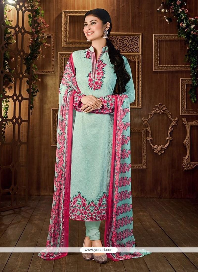 Delightful Georgette Embroidered Work Churidar Designer Suit