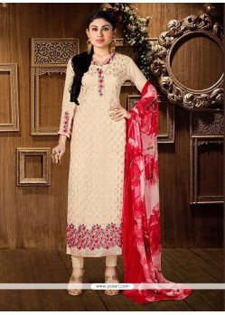 Embroidered Georgette Churidar Designer Suit In Cream