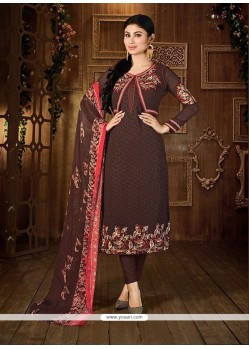 Opulent Brown Churidar Designer Suit