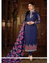 Groovy Embroidered Work Georgette Navy Blue Churidar Designer Suit