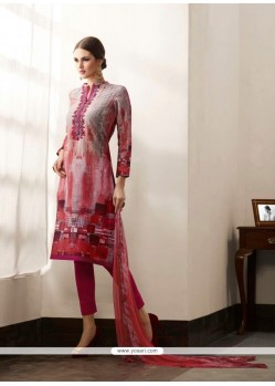 Monumental Cotton Satin Multi Colour Print Work Pant Style Suit
