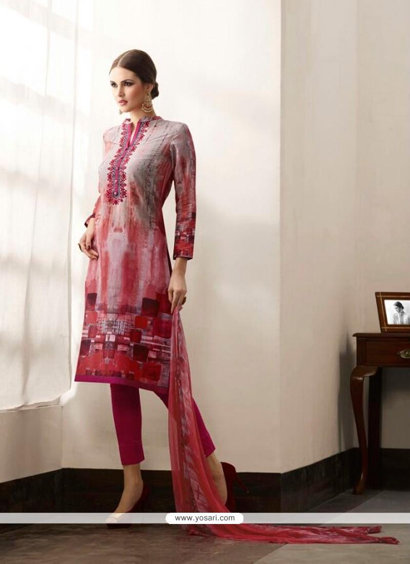 Monumental Cotton Satin Multi Colour Print Work Pant Style Suit