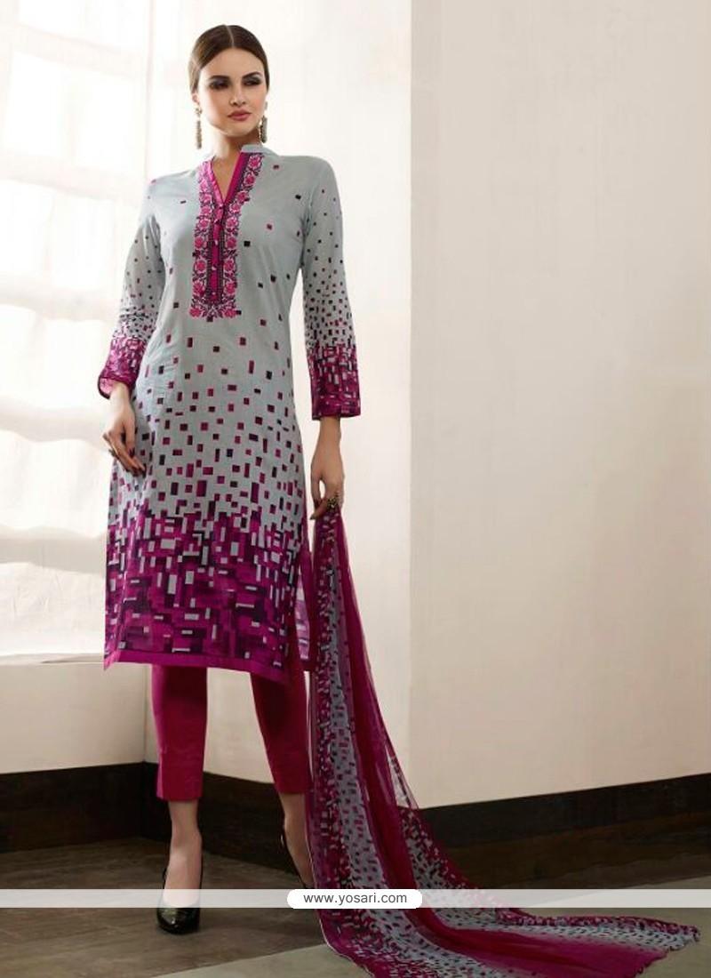 Bedazzling Multi Colour Print Work Cotton Satin Pant Style Suit