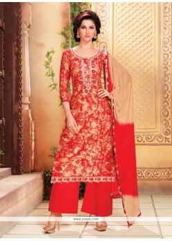 Sensational Red Print Work Designer Palazzo Salwar Kameez