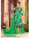 Refreshing Green Print Work Cotton Designer Palazzo Salwar Kameez