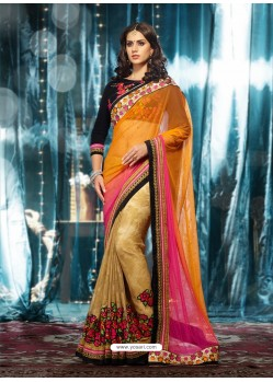 Beige And Orange Soft Net Party Wear Saree