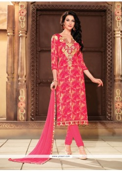 Delectable Cotton Print Work Churidar Designer Suit
