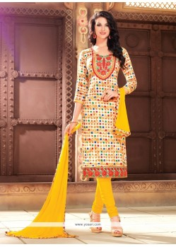 Mystical Print Work Cotton Churidar Designer Suit