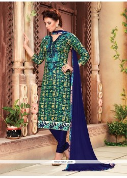 Pleasing Cotton Multi Colour Churidar Designer Suit