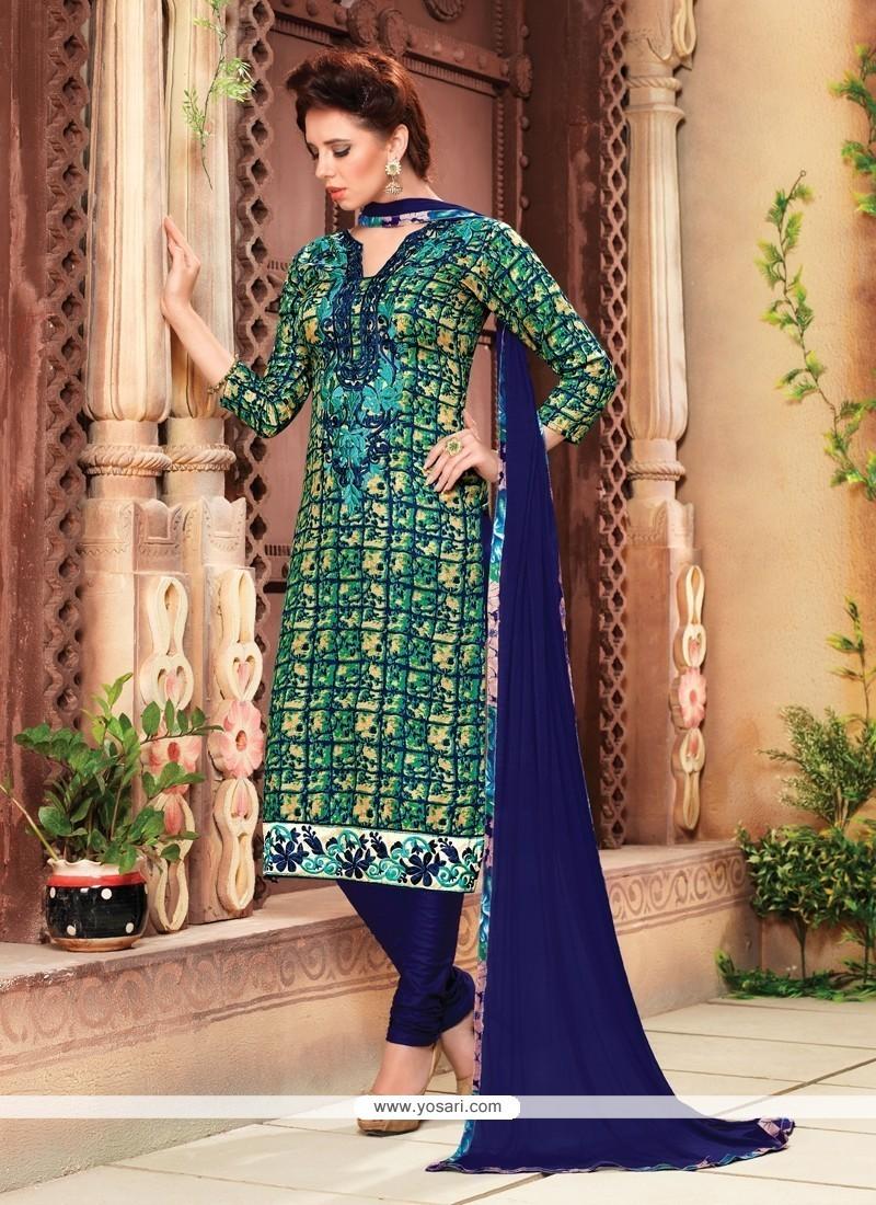 Pleasing Cotton Multi Colour Churidar Designer Suit