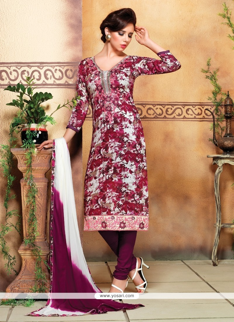 Vivacious Cotton Multi Colour Print Work Churidar Designer Suit