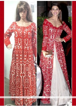 Fetching Resham Work Red Bhagalpuri Silk Anarkali Salwar Suit