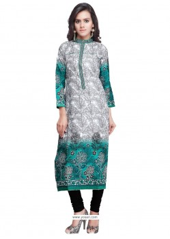 Fetching Print Work Sea Green Designer Kurti