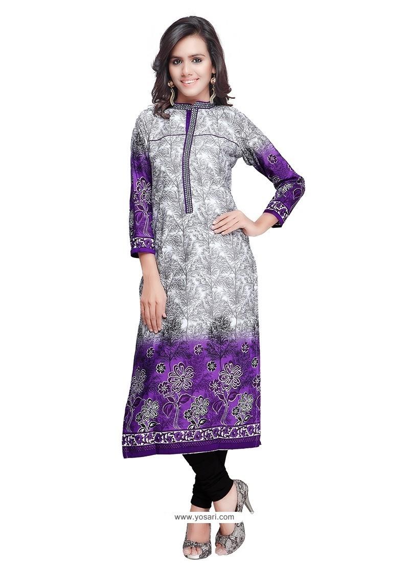 Elite Print Work Purple Cotton Party Wear Kurti