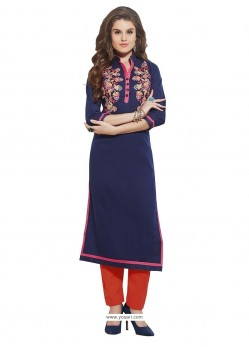 Festal Navy Blue Party Wear Kurti