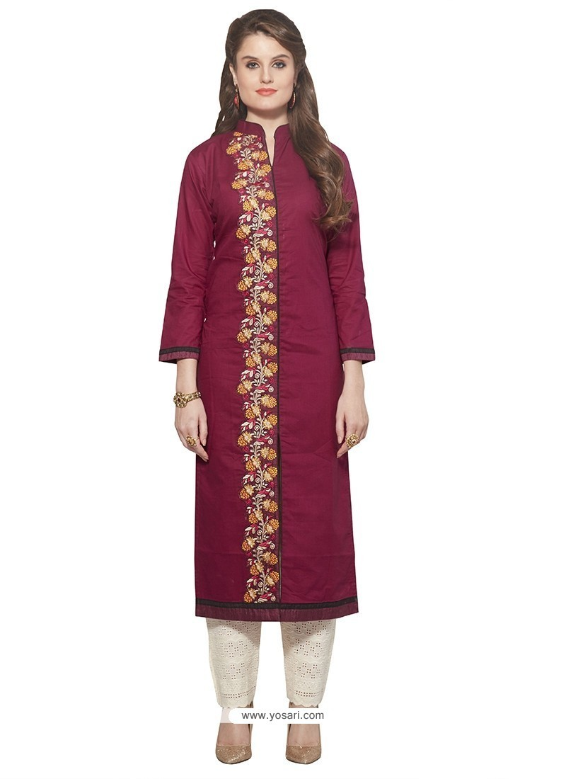 Noble Embroidered Work Cotton Maroon Party Wear Kurti