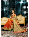 Peach And Orange Shaded Soft Net Saree