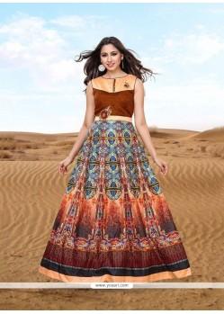 Multi Colour Banglori Silk Designer Gown