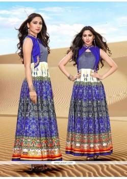 Multi Colour Banglori Silk Embroidered Work Designer Gown