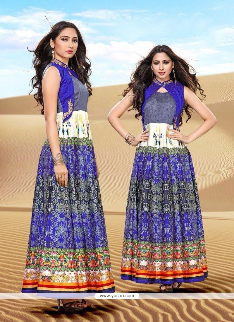 Multi Colour Banglori Silk Embroidered Work Designer Gown