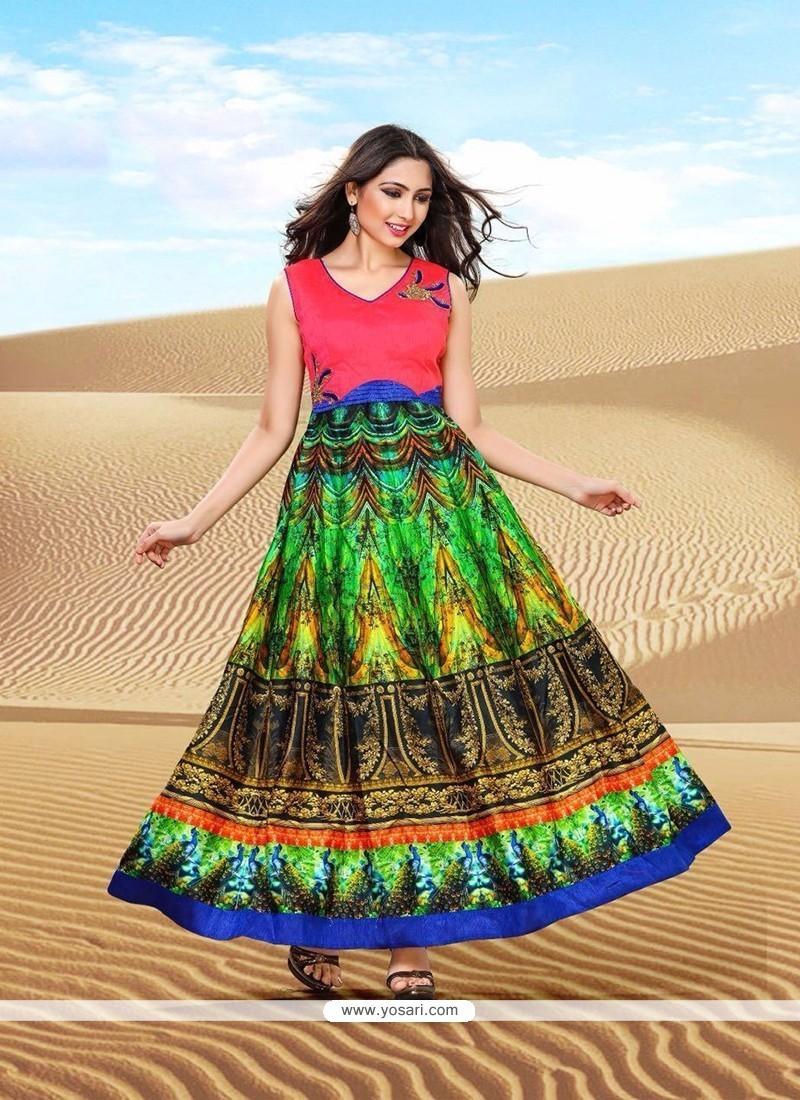 Distinctively Banglori Silk Multi Colour Print Work Designer Gown