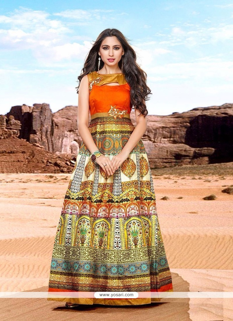 Best Banglori Silk Multi Colour Embroidered Work Floor Length Gown