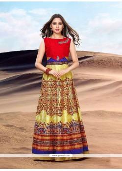 Glossy Banglori Silk Print Work Floor Length Gown